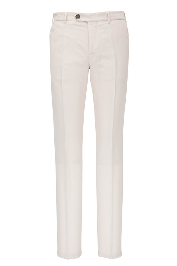 Brunello Cucinelli Off-White Cotton Linen Pant