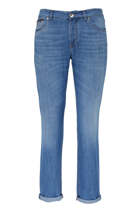 Brunello Cucinelli Light Wash Traditional Fit Jean
