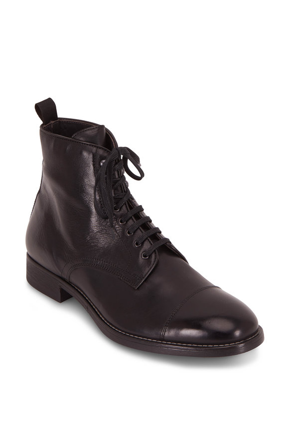 To Boot New York Richmomd Black Leather Cap-Toe Lace-Up Boot