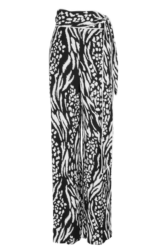 Veronica Beard Curtis Black & White Print Wide Leg