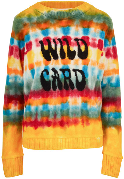 The Elder Statesman Wacky Wild Card Flower Power Cashmere Sweater