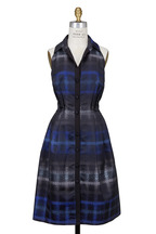 Carmen Marc Valvo - Midnight Blue Plaid Shirt Dress
