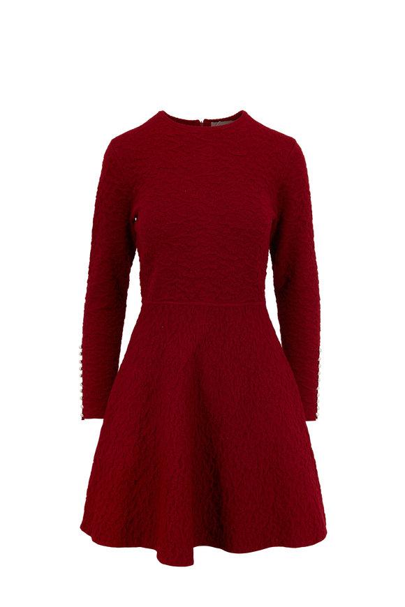 Lela Rose Bordeaux Full Skirt Long Sleeve Knit Dress