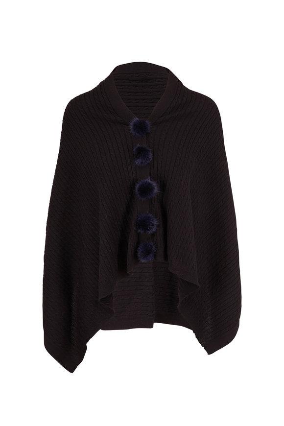 Viktoria Stass Black Fur Pom Pom Knit Poncho