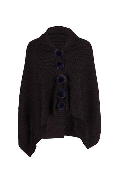 Viktoria Stass - Black Fur Pom Pom Knit Poncho
