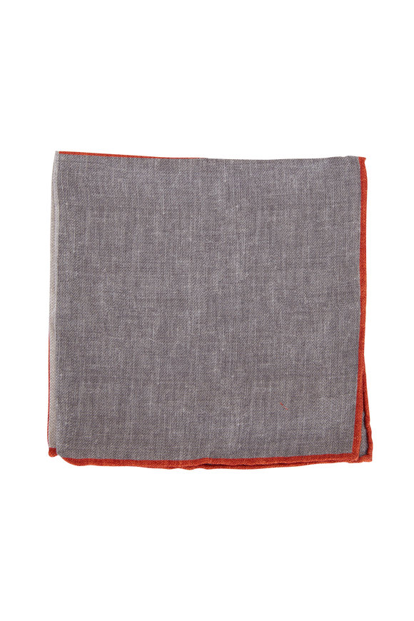 Brunello Cucinelli Gray Geometric Silk Pocket Square