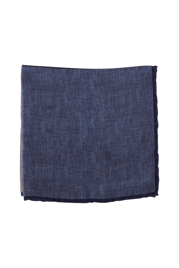 Brunello Cucinelli Navy Blue Geometric Silk Pocket Square