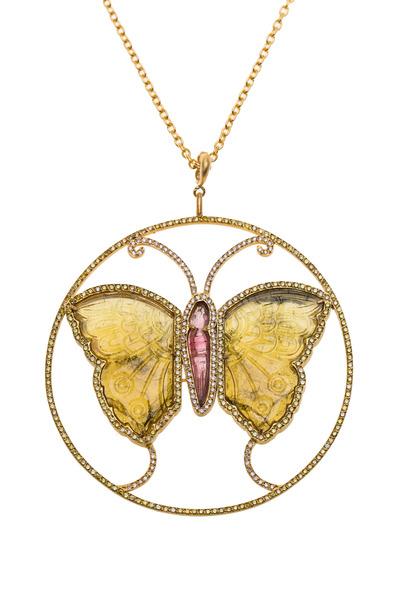 Yossi Harari - Lilah Gold Tourmaline Diamond Butterfly Pendant