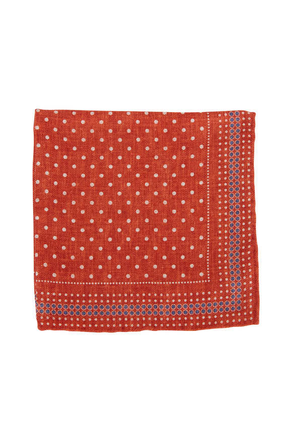 Brunello Cucinelli Orange Pattern Silk Pocket Square