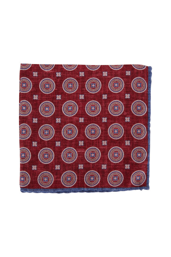 Brunello Cucinelli Red Medallion Silk Pocket Square