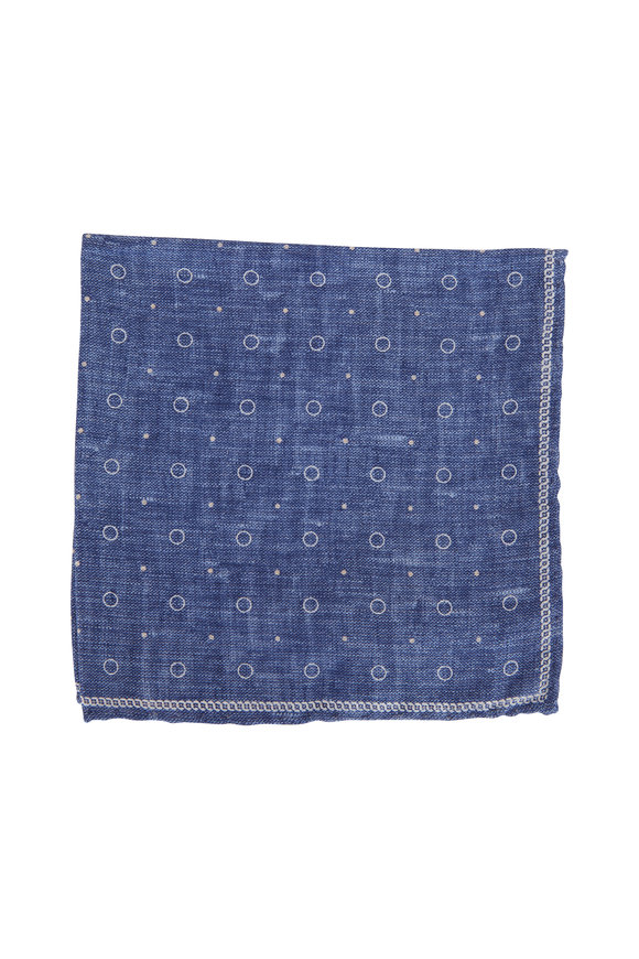 Brunello Cucinelli Blue Geometric Silk Pocket Square