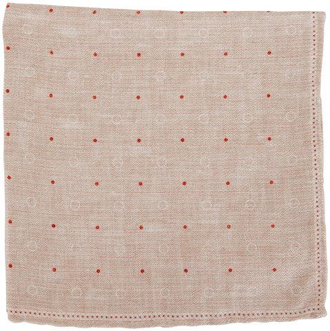 Brunello Cucinelli Blue & Orange Dot & Striped Pocket Square
