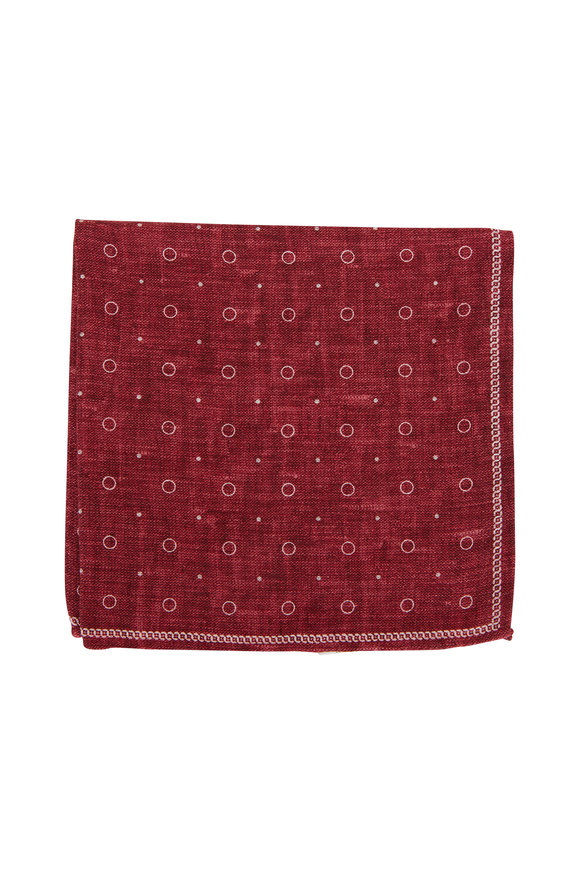 Brunello Cucinelli Red Geometric Silk Pocket Square