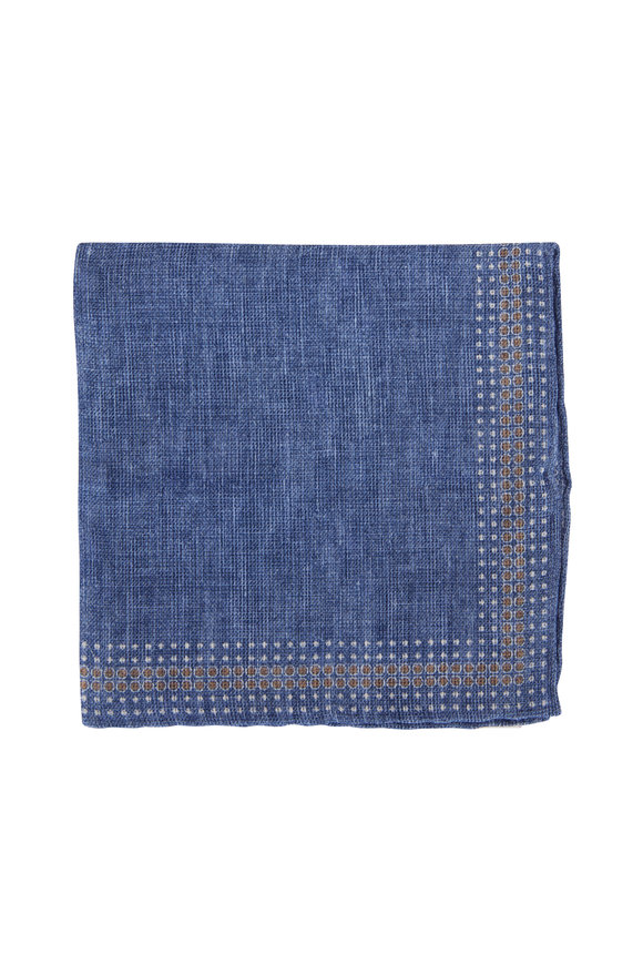 Brunello Cucinelli Navy Blue Linen & Cotton Pocket Square