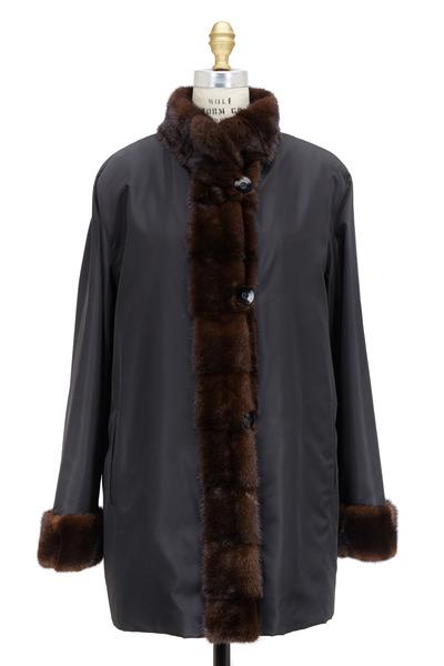 Oscar de la Renta Furs - Black & Mahogany Mink Fur Rainproof Coat