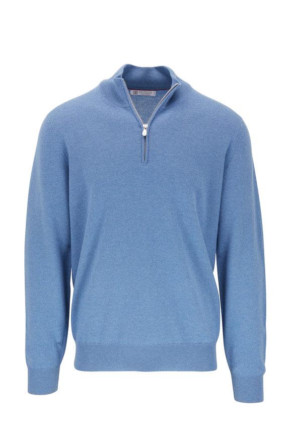 Brunello Cucinelli Blue Cashmere Quarter-Zip Pullover