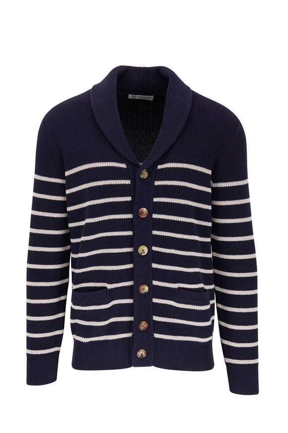Brunello Cucinelli Navy & White Stripe Shawl Collar Cardigan