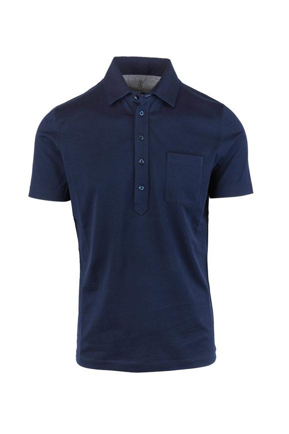 Brunello Cucinelli Navy Blue Slim Fit Polo