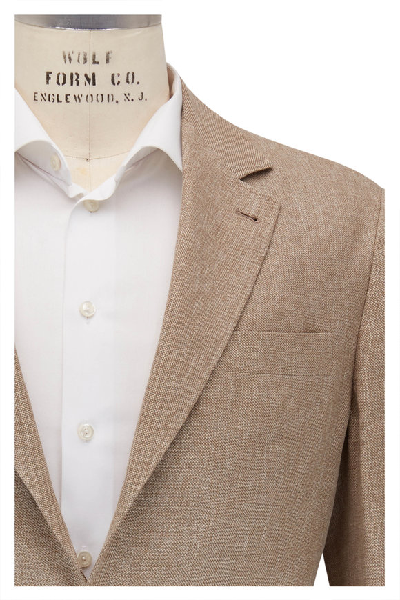 Brunello Cucinelli Light Brown Linen, Wool & Silk Sportcoat