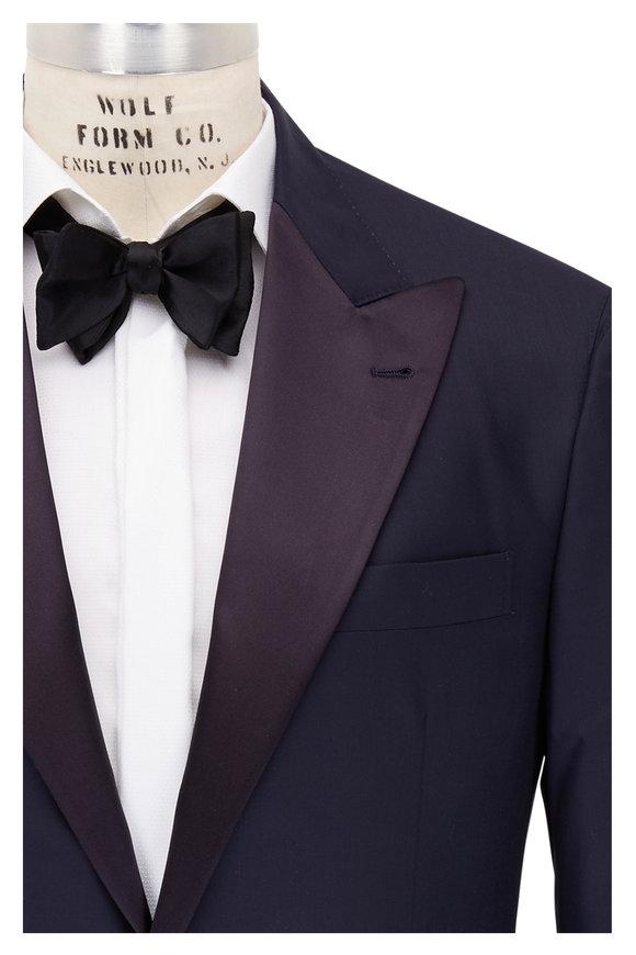 Brunello Cucinelli Navy Blue Wool & Cashmere Tuxedo