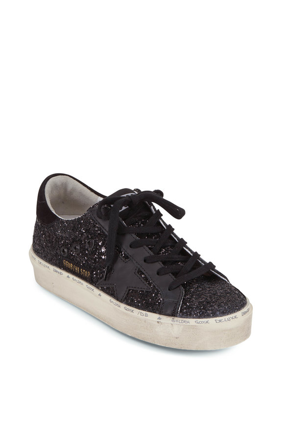 Golden Goose Hi Star Black Glitter Platform Sneaker