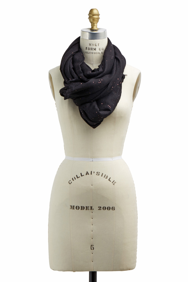 Black Cashmere & Silk Paillette Scarf