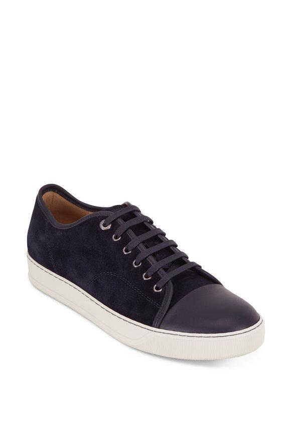 Lanvin Navy Blue Suede & Leather Cap-Toe Sneaker