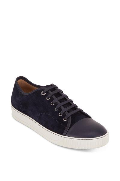 Lanvin - Navy Blue Suede & Leather Cap-Toe Sneaker