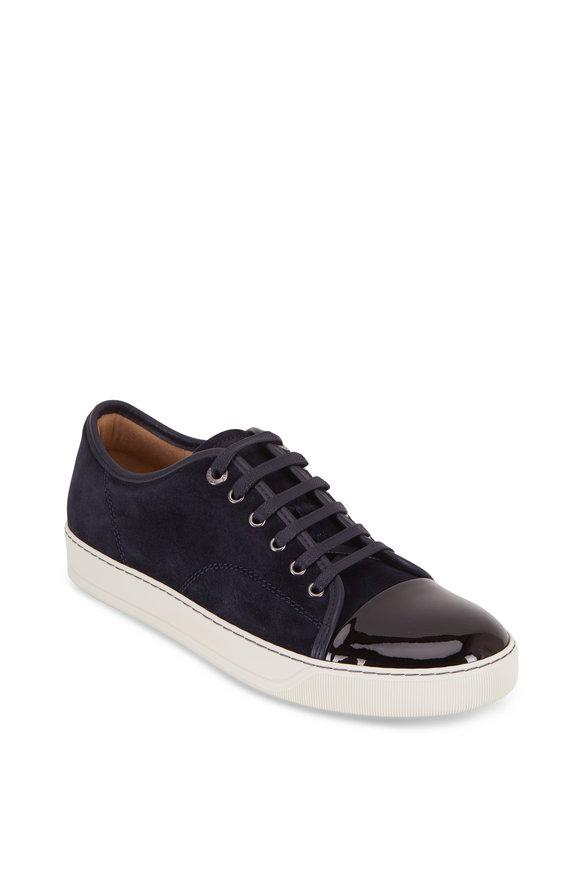 Lanvin Navy Suede & Black Patent Leather Cap-Toe Sneaker