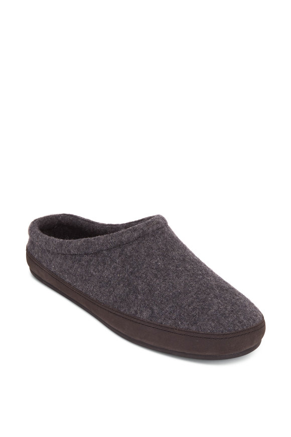 Vince Howell Gray Flannel Shearling Lined Slipper