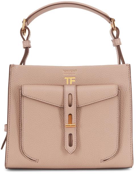 Tom Ford T-Twist Silk Taupe Mini Top Handle Bag