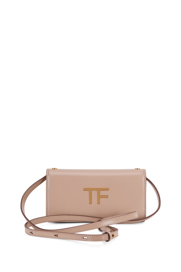 Tom Ford TF Taupe Silk Leather Mini Crossbody