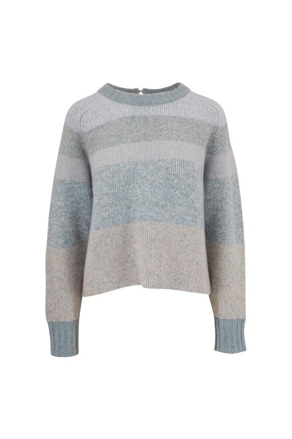 Le Kasha Leith Green Large Stripe Keyhole Back Sweater