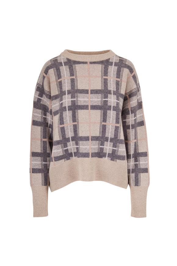 Le Kasha Evreux Plaid Light Beige Cashmere Sweater