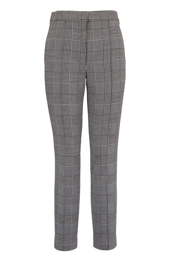 Adam Lippes Black & White Double-Faced Wool Plaid Pant