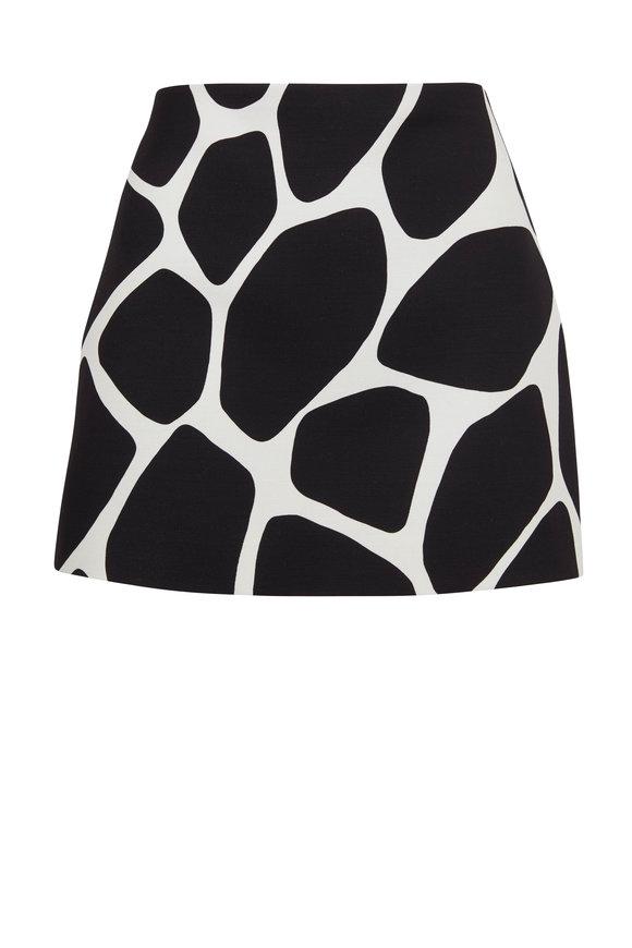 Valentino Black & Ivory Giraffe Print Mini Skirt