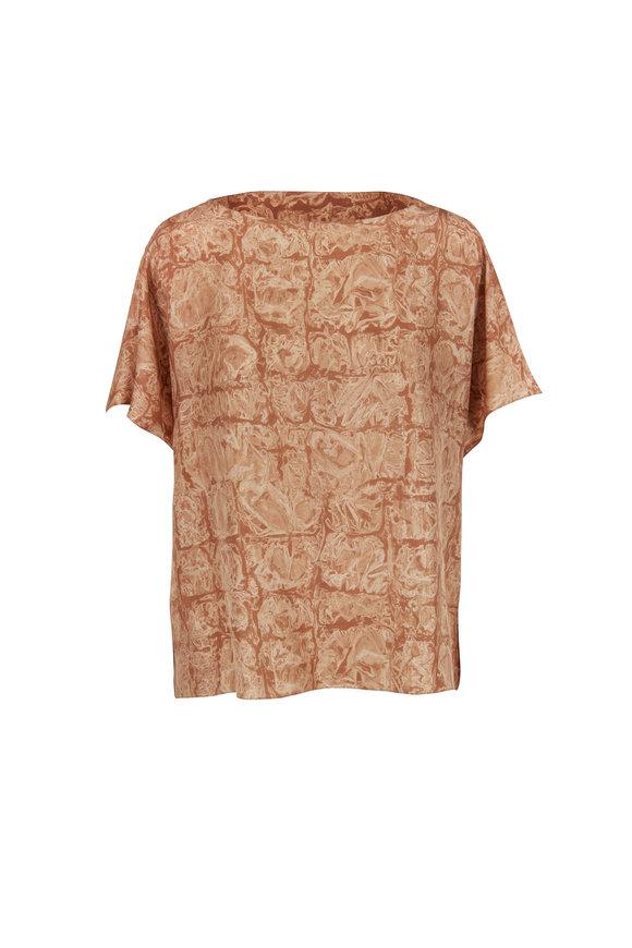 The Row Lylia Dark Ginger Marbled Print Silk Top