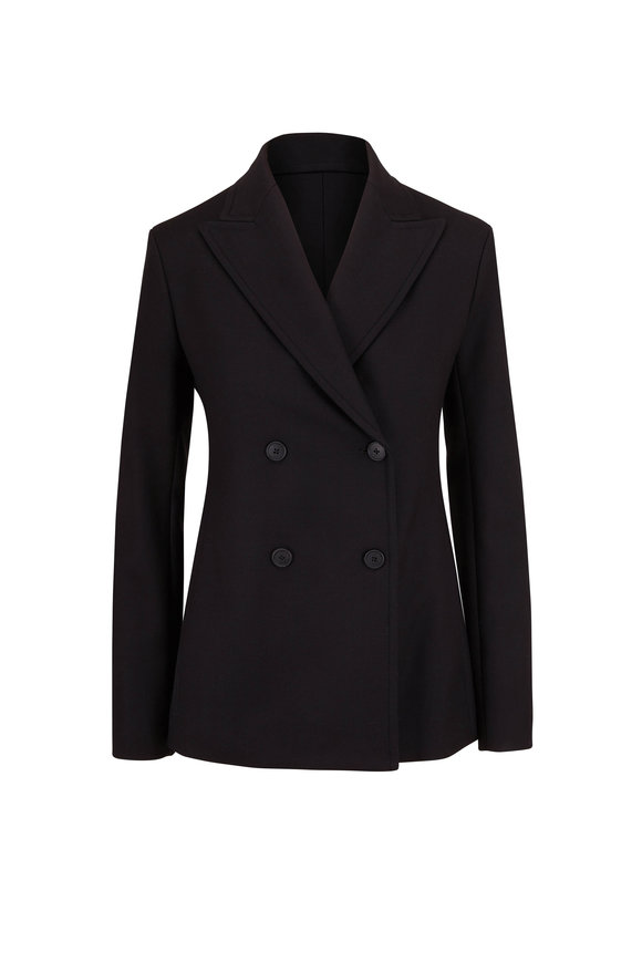 The Row Zori Black Stretch Cotton Double-Breasted Jacket