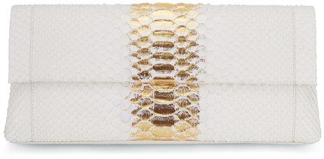 Nancy Gonzalez Ivory & Gold Python Large Clutch