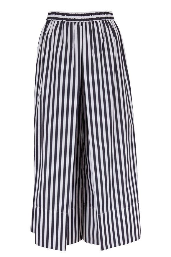 Rosetta Getty Black & White Striped Cotton Wide Leg Culotte