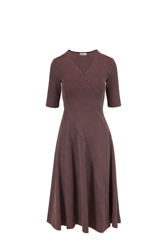 Rosetta Getty Rouge & Black Glen Check Plaid Short Sleeve Dress
