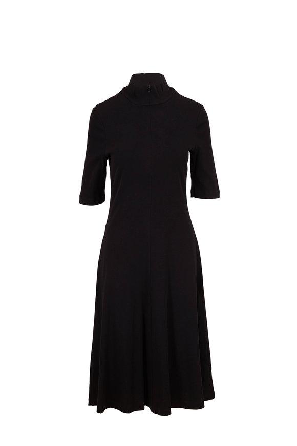 Rosetta Getty Black Mercerized Cotton Jersey Crop Sleeve Dress