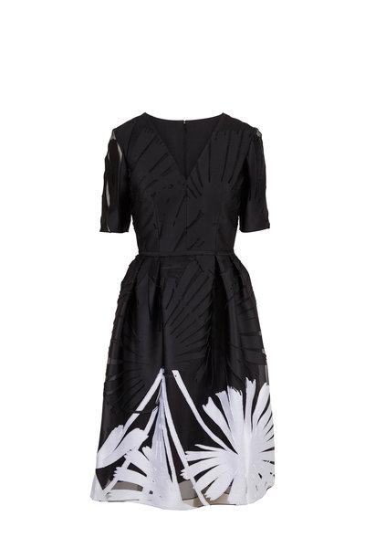 Carolina Herrera - Black & White Palm Print Short Sleeve Dress