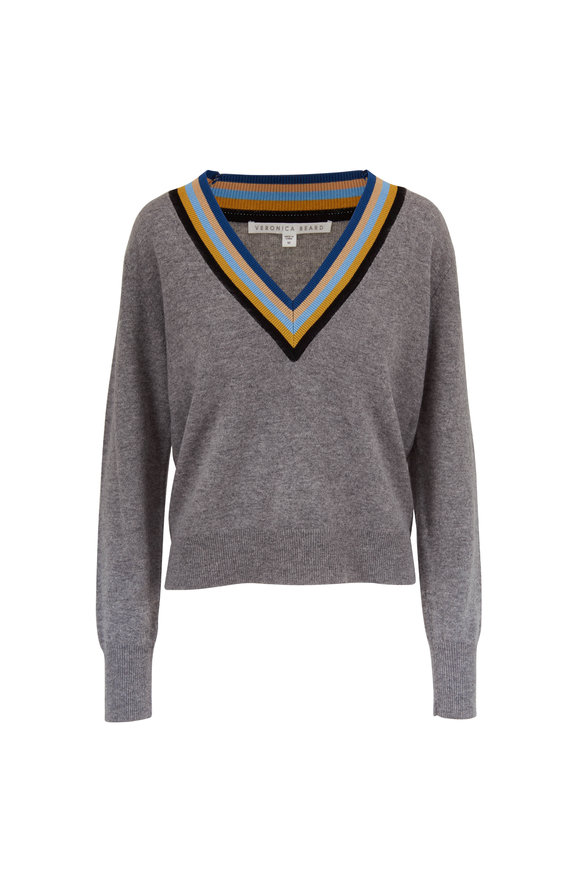 Veronica Beard Jessel Gray Melange V-Neck Varsity Sweater