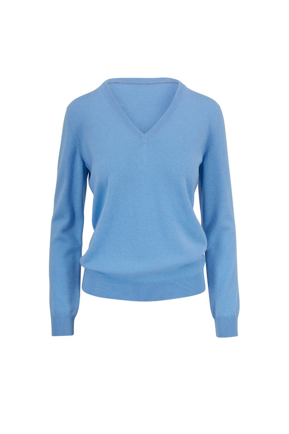 Brunello Cucinelli Exclusively Ours! Basic Sky Blue Cashmere Sweater
