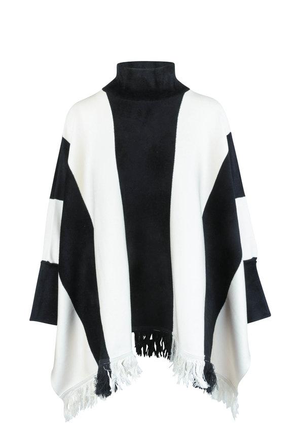 Oscar de la Renta Black & White Silk Blend Poncho