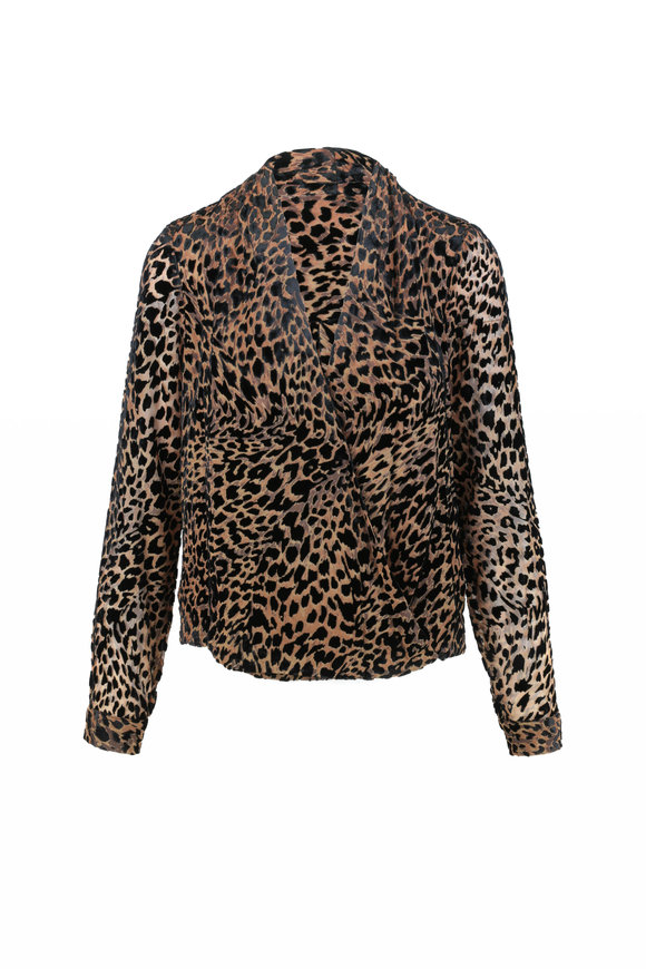 L'Agence Lydia Black & Tan Leopard Wrap Blouse