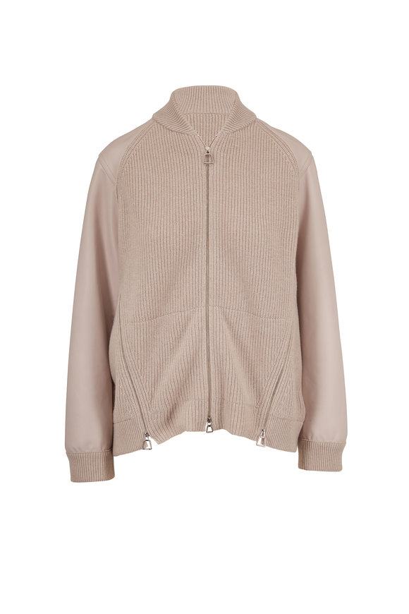 Akris Clay Ribbed Knit Cashmere & Leather Bomber Jacket