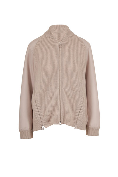 Akris - Clay Ribbed Knit Cashmere & Leather Bomber Jacket