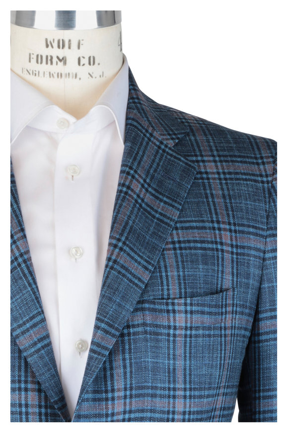 Kiton Blue Silk & Cashmere Plaid Sportcoat